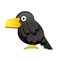 paper black raven on white background vector image