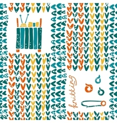 Pattern with knitting accessories and pin vector