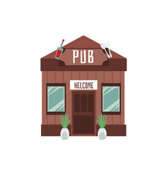 pub wooden building with welcome signboard flat vector image