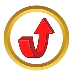 Red curved arrow icon vector
