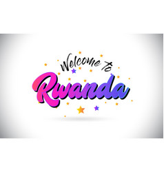 Rwanda welcome to word text with purple pink vector