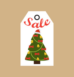 Sale promo tag evergreen tree decorated bells bows vector