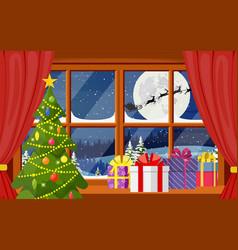 santa claus and his reindeer in window vector image