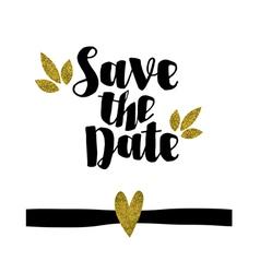 Save date golden glitter wedding invitation te vector