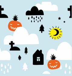 scandinavian style seamless pattern with pumpkins vector image