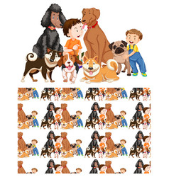 seamless background design with boys and dogs vector image