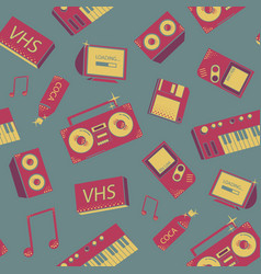Seamless pattern with old school things colorful vector