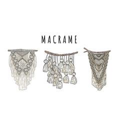 Set macrame bohemian style wall hangers doodle vector