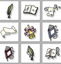 Set of educational objects vector