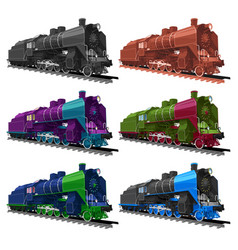 set of old steam locomotive vector image