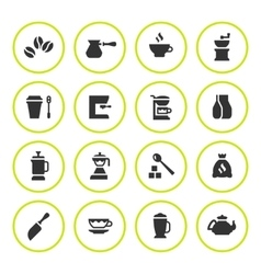 Set round icons of coffee vector