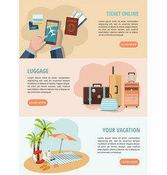 set vacation and travel web banners vector image