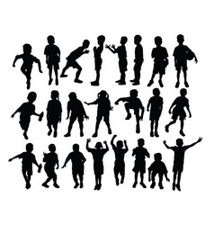 silhouette elementary school children activitie vector image