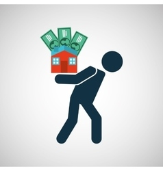 silhouette man financial crisis house money vector image