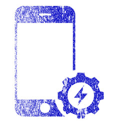 Smartphone power options gear textured icon vector