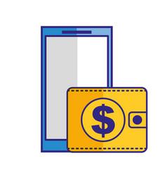 smartphone wallet money dollar online vector image