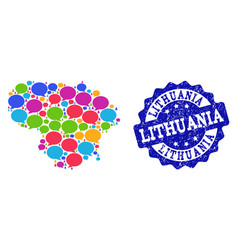 Social network map of lithuania with chat bubbles vector