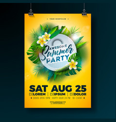 summer beach party flyer design with flower vector image