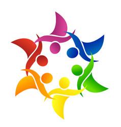 teamwork group of working friends logo vector image