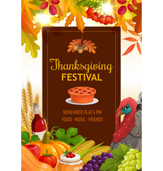 thanksgiving festival flyer pumpkin pie vector image