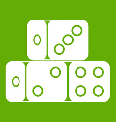 three dice cubes icon green vector image