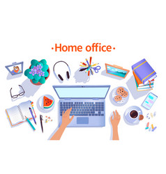 Top view home office concept vector