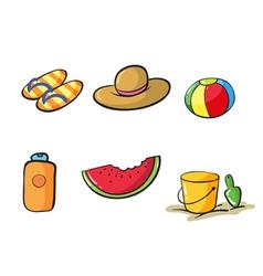 Various beach objects vector