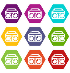 vintage boombox icons set 9 vector image