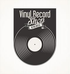 vinyl record retro vintage laurel wreath badge 5 vector image