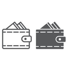 wallet line and glyph icon money and payment vector image