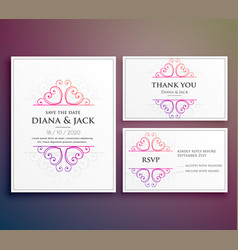 Wedding card invitation design with thank you card vector
