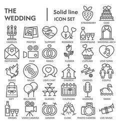 wedding line signed icon set love symbols vector image