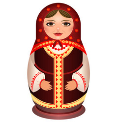 Woman in scarf national symbol of russian doll vector