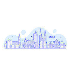 zagreb skyline croatia city buildings vector image
