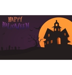 Happy Halloween Card Template Mix Moon and vector image