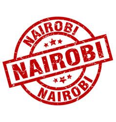 nairobi red round grunge stamp vector image vector image