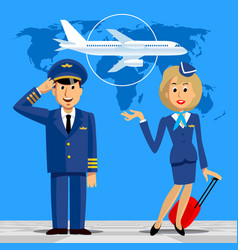 pilot and stewardess in uniform on blue vector image
