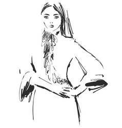 woman in a dress fashion models sketch vector image