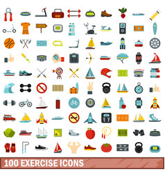 100 exercise icons set flat style vector image vector image