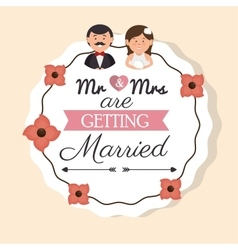 cartoon man and woman wedding card vintage design vector image