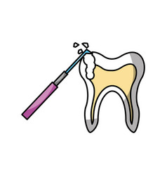 Human tooth with dental drill vector