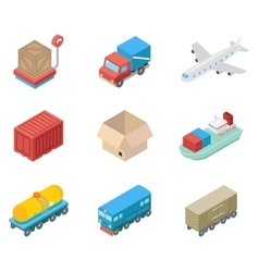 Isometric cargo transportation and logistic icons vector image