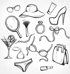 Set monochrome sketch female accessories imitation vector