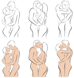 Stylized silhouettes of men and women hugging vector image vector image