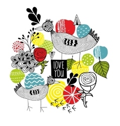 Creative print with birds and design elements vector image vector image