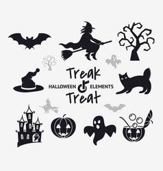 Digital black happy halloween vector