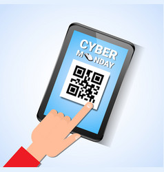 hand touch digital tablet with qr code on screen vector image