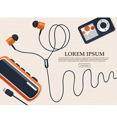 Headphones music player and mini speaker on the vector image