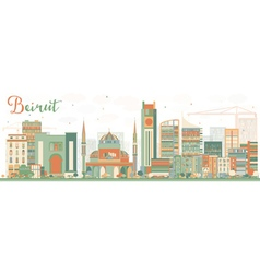 Abstract Beirut Skyline with Color Buildings vector image vector image
