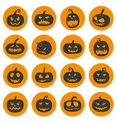 halloween pumpkins icons set vector image
